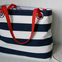 Nautical Beach Bag Navy and White Cabana Stripes Red White Blue Summer Tote Bag Extra Large Tote Bag Vacation Bag Carry On Bag