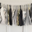 Black White and Gold Tissue Paper Tassel Pennant