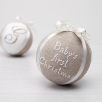 Monogrammed Christmas Ornament - Personalized Ornament - Custom Ornament - natural linen covered