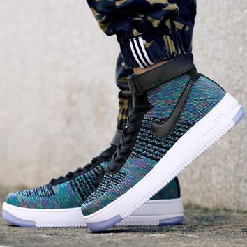 PEAPON Nike Air Force 1 Flyknit Mid-High 817420-002 Blue For Women Men Sneakers