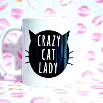 CRAZY CAT LADY CAT FACE COFFEE MUG, 11 oz COFFEE MUG. CAT LADY coffee mug/ CAT LADY Mug