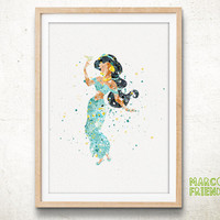 Jasmine, Aladdin - Watercolor, Art Print, Home Wall decor, Watercolor Print, Disney Princess Poster