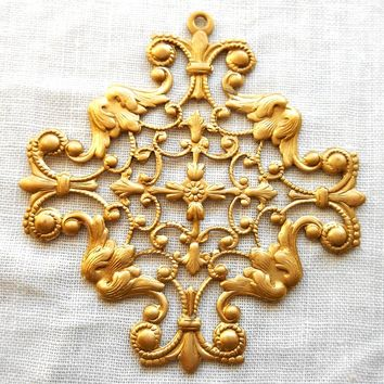 One Raw Brass Stamping filigree Celtic cross, Victorian, openwork, pendant, charm, connector, 51mm, made in the USA, C0801