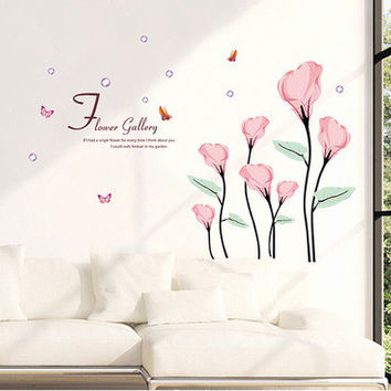 Pink calla lily The sitting room TV setting wall adornment bedroom background SM6