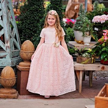 Pink Leah Short Sleeve Lace Gown Dress & Flower Sash Set