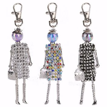 YLWHJJ new girls doll Rhinestone keychain for women cute colour key chain car pendant Accessories handmade fashion jewelry