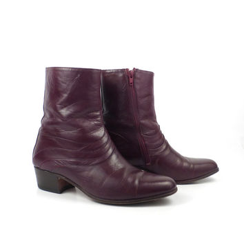 Leather Ankle Boots 1970s Burgundy Oxblood  Euro Beatle Zip men's size 7 1/2