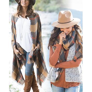 Grace & Lace Pocket Poncho/Scarf (Camel)
