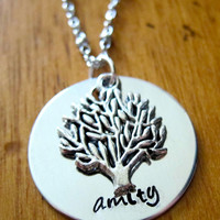 Divergent Inspired Factions Necklace. Amity Faction. Tris. Silver colored, charm pendant, hand stamped jewelry.