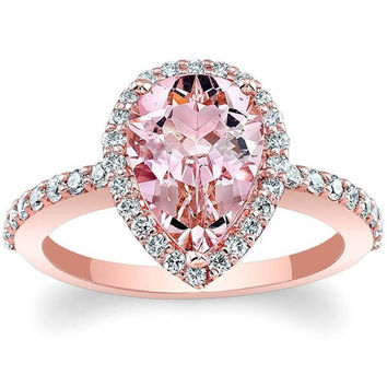 "Barkev's Rose Gold Pear Cut ""Morganite Halo"" Diamond Engagement Ring"