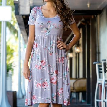 Grey Short Sleeve Floral Sundress Shop Simply Me Boutique Shop SMB – Simply Me Boutique