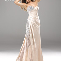 Nude Beaded Pleated Satin Sweetheart Prom Dress - Unique Vintage - Homecoming Dresses, Pinup & Prom Dresses.