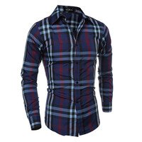 Classics Long Sleeve Slim Men Plaid Classic Casual Blouse = 6458494851