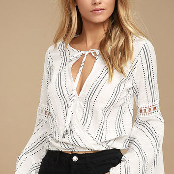 Standout White Print Long Sleeve Top