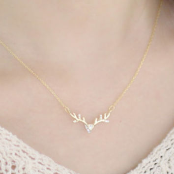 Reindeer Necklace, Antler Necklace, Bridesmaid Gifts, Anniversary Gift, Womens Necklace, Brass Jewelry, Cubic Necklace, Valentine Necklace