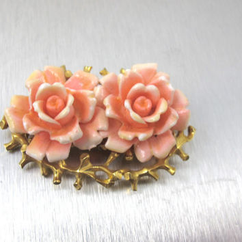 Vintage Faux Coral Brooch, Pink Coral Resin Roses Flowers Signed Judy Lee Gold Organic Design