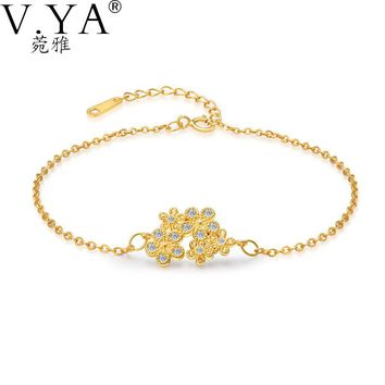 VYA S925 Silver Micro Pave CZ Crystal Charm Link Chain Bracelets 100% Real 925 Sterling Silver Bracelet for Women Jewerly CB86