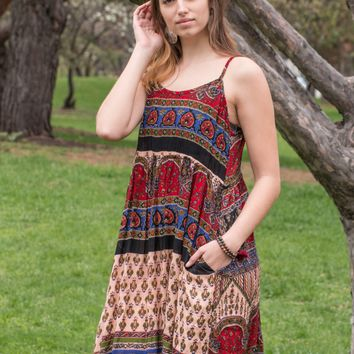 NEW! Indian Print Boho Mini Dress