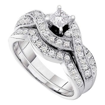14kt White Gold Women's Princess Diamond Twist Bridal Wedding Engagement Ring Band Set 3/4 Cttw - FREE Shipping (US/CAN)
