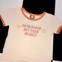 SWEET LORD O'MIGHTY! DO NO HARM RINGER TEE IN BROWN