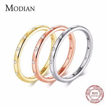 Modian New Style Solid 925 Sterling Silver Simple Fashion Wedding Engagement Finger Ring Jewelry Stackable Classic For Women