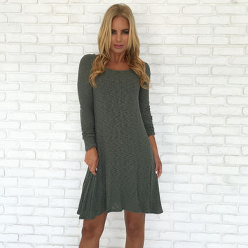 Hearts Cannot Be Broken Knit Olive Dress