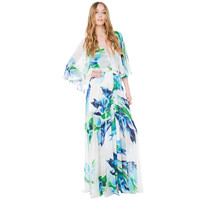 Floral V-neck Bohemian Pleated Maxi Dress with Slit