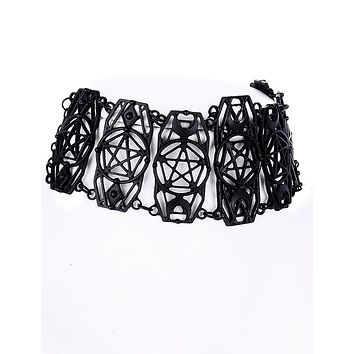 Witchcraft Wicked Geometric Pentagram Black Choker necklace