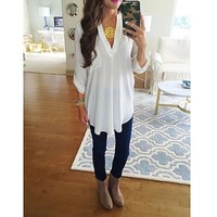 Womens Loose Fit V-Neck Tunic with High/Low Hem- Up + Gift Necklace