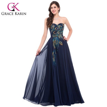 Grace Karin Evening Dress Long Strapless Formal Black Peacock Evening Gowns Elegant Gowns Robe De Soiree Wedding Prom Dress 2016