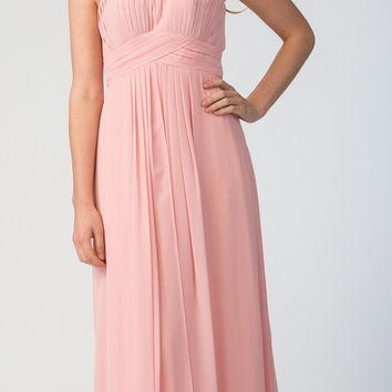 Starbox USA Blush Long Bridesmaids Dress Cut Out Back Empire Waist