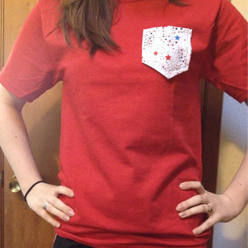 Fourth Of July Pocket Tee / Pocket Tee / Fourth Of July / Womens Fashion / 4th of July Pocket Tee / Patriotic Tshirt / Womens Pocket Tee