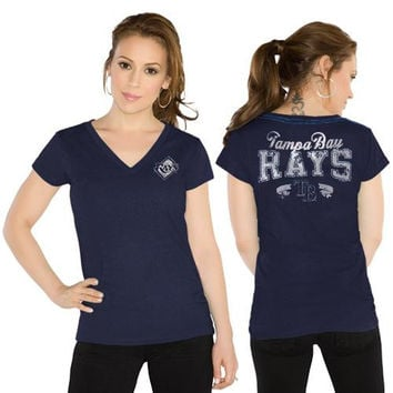 Touch by Alyssa Milano Tampa Bay Rays Ladies Outfield Slim Fit T-Shirt - Navy Blue