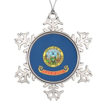 Snowflake Ornament with Idaho Flag