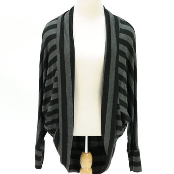 Stripe long sleeve open cardigan gray black