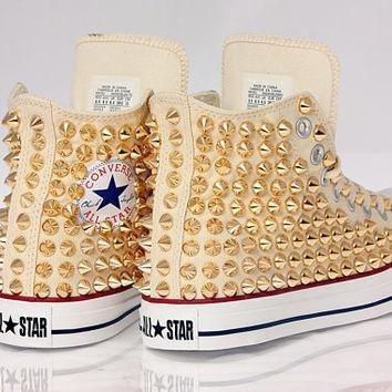 holiday promotion studded white converse gold studs with converse cream high top by c