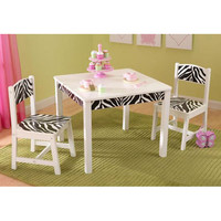 KidKraft 21325 Fun and Funky White and Zebra Kids Table and Chair set