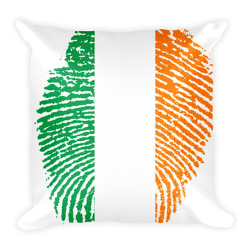"Irish Fingerprint Flag Pillow - 18"" x 18"""