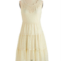 ModCloth Boho, Vintage Inspired, 20s, French Mid-length Sleeveless A-line Adieu It Again Dress