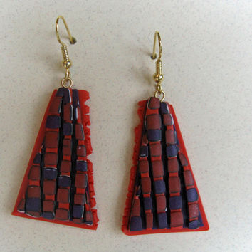 Brick Wall Art Earrings in 3D Red, Orange, and Purple Polymer Clay