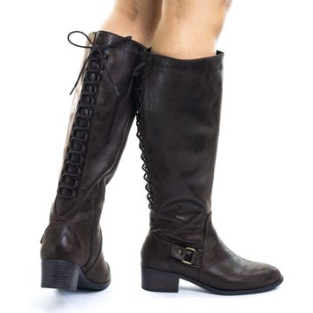 Tai Riding Biker Boots w Belted Detail & Rear Corset Back Lace up
