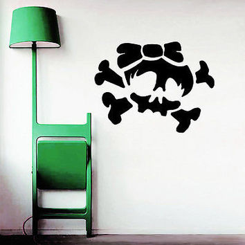 Wall Decals Girl Skull Bow Bones Sticker Bedroom Living Room Home Decor OS253