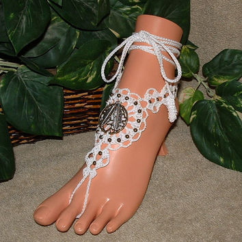 Crochet Wedding Dream Catcher Barefoot Sandals, Indian Jewelry, Beach Wedding, Footless, Bridal Anklet