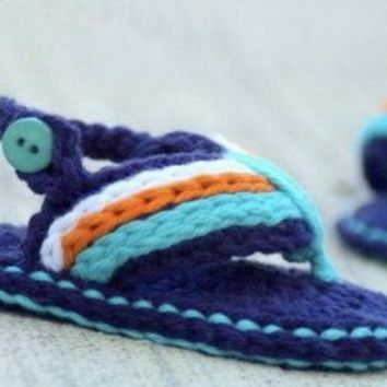 Crochet Blue Flip Flops Baby Shoes