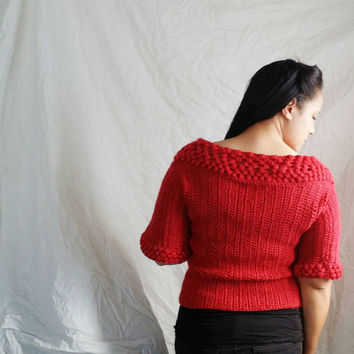 Women's cardigan sweater in red, Oversized cardigan, Crochet sweater with ballet neckline