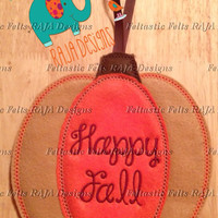 Happy Fall Pumpkin door hanger, sign, banner, embroidery, embroidered, Halloween, Thanksgiving, holiday, autumn fall, decoration