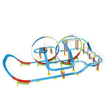 Track Multilayer Roller coaster train car DIY building model toy Vehicle toys kids indoor Electric Toys for Children Xmas gift
