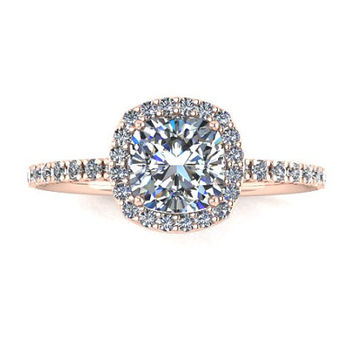 Halo Diamond Moissanite Engagement Ring, White Gold, Rose Gold, Yellow Gold, Wedding Ring Promise Ring Right Hand Ring RE00054
