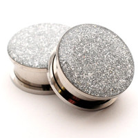 Screw On Plugs - Silver Glitter Plugs gauges - 16g, 14g, 12g, 10g, 8g, 6g, 4g, 2g, 0g, 00g, 7/16, 1/2, 9/16, 5/8, 3/4, 7/8, 1 inch