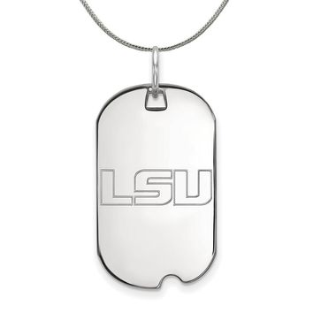 NCAA Sterling Silver Louisiana State Dog Tag Pendant Necklace